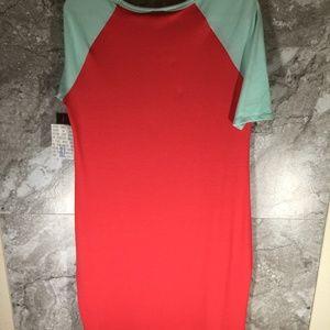 LuLaRoe Dresses - LULAROE XL Julia Dress Pink Coral Light Blue